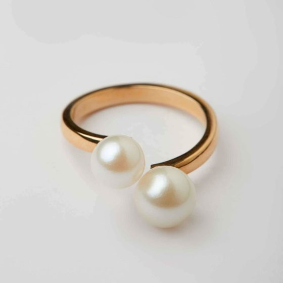 The Line Double Pearl Ring