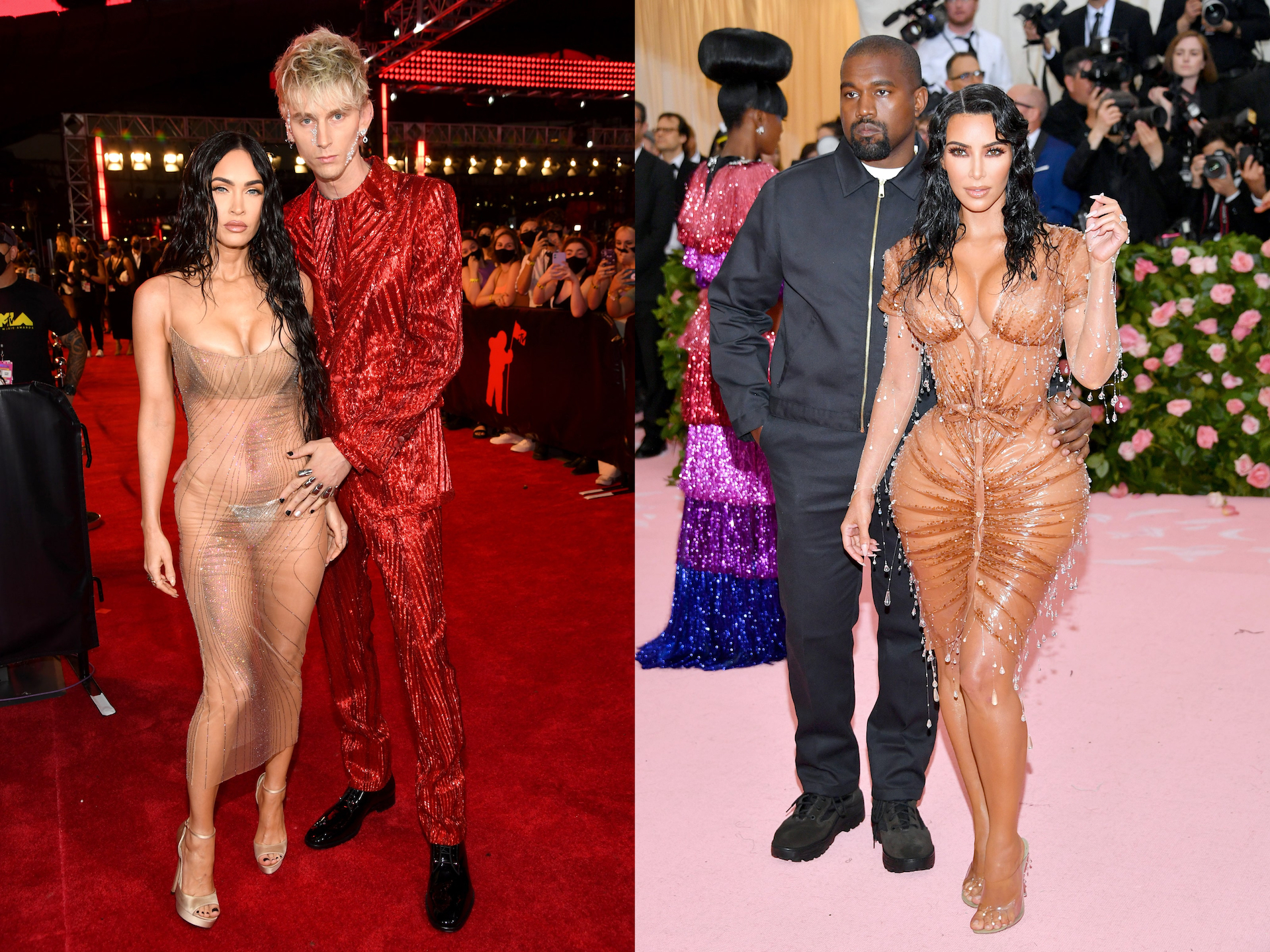 Megan Fox wore a barely-there Mugler crystal dress that looks similar to the one Kim Kardashian wore to the 2019 Met Gala. (Photo credit: Getty Images)